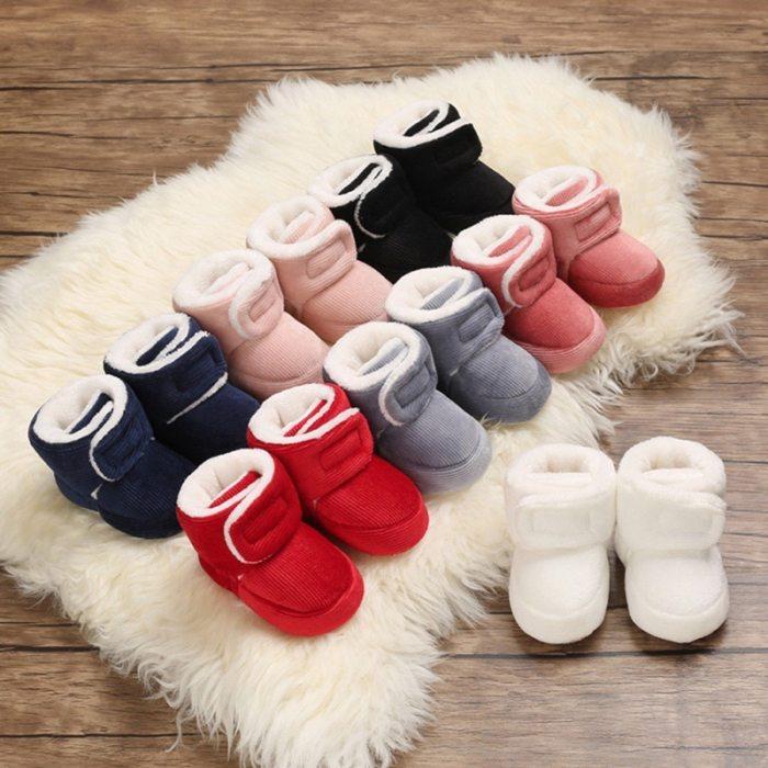 Baby Newborn First Walkers Unisex Faux Fleece Bootie Winter Warm Infant Toddler Crib Shoes