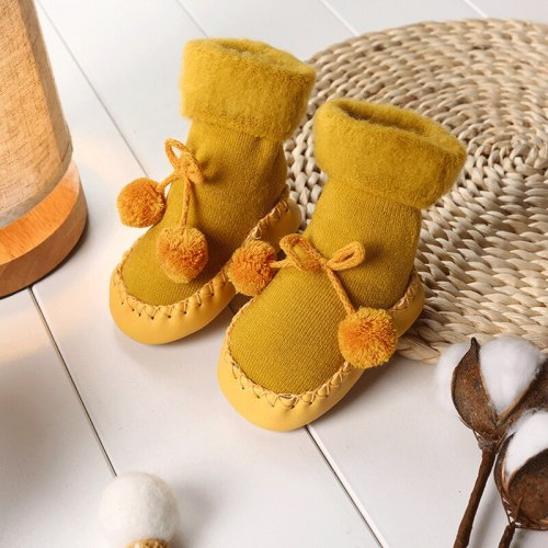 Baby Socks Shoes Newborn Baby Floor Socks Anti Slip Soft Solid Thicken Warm Butterfly Knot Sock