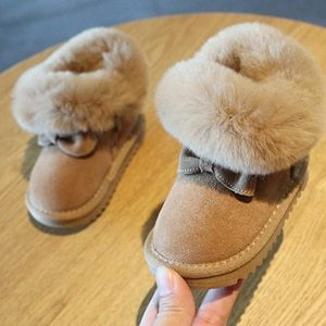 Turned-over Warm Plush Baby Snow Boots Genuine Leather Cute Butterfly Winter Shoes