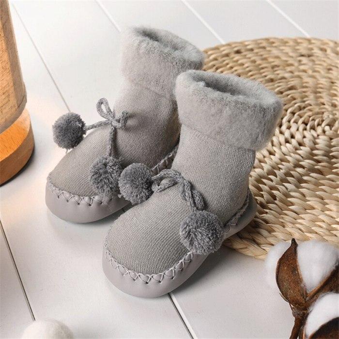 Baby Socks Shoes Newborn Baby Floor Socks Anti Slip Soft Solid Thicken Warm Butterfly Knot Sock
