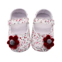 Newborn Baby Girls Flowers Printing Applique Prewalker Soft Sole Single Shoes