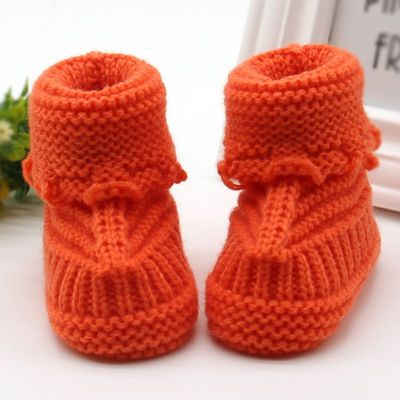 Handmade Newborn Baby Boots Crib Shoes Infant Crochet Knit winter warm Booties
