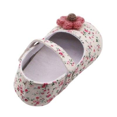 Newborn Baby Girls Flowers Printing Applique Prewalker Soft Sole Single Shoes