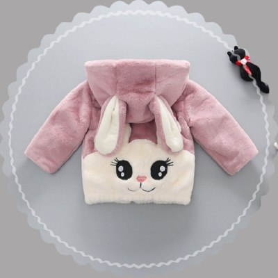 Autumn and winter baby children's rabbit fur jacket fashion girls plush coat thick cotton coat