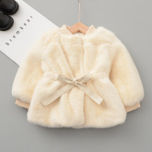Baby Girls Winter Outerwear Fashion Velvet Warm Girls Waist Jacket Coat