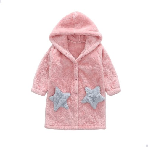 Girls' Home Wear Nightgown Sleeping Dress Winter Bathrobe Flannel Nightdress Warm Pajamas