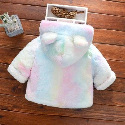 Winter Warm Baby Coat Cute Hooded Jackets Girls Fleece Cartoon Bear Infant Sweaters Hoodies