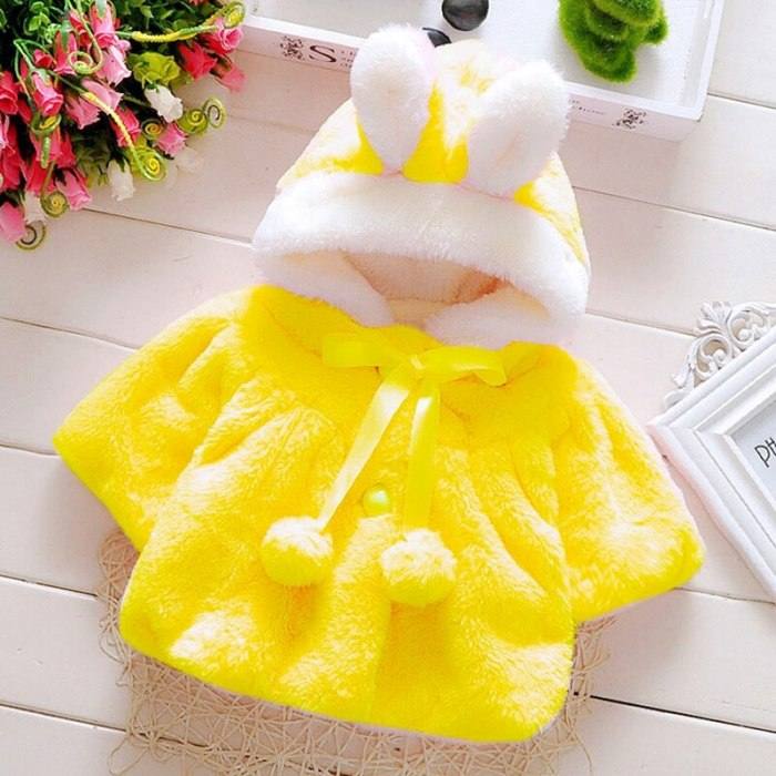 Rabbit Infant girl baby clothes fashion coat cute cartoon ear shape furry coat