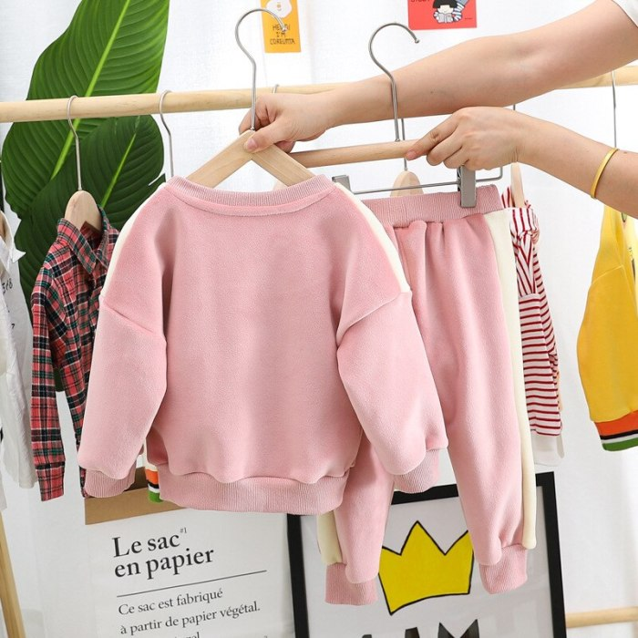 Cute Children's Winter Suit Thicken Toddler Girl Clothes Casual Sweater Trousers 2Pcs Pajamas Set