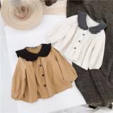 Children's wear girls' contrast baby collar cotton hemp children's baby shirt