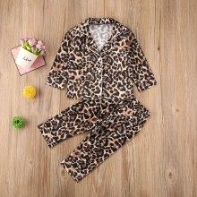 Infant Baby 2PCS Pajama Set Leopard Button-Down Collar Top Kids Sleepwears