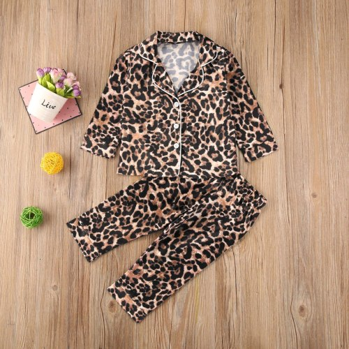 Infant Baby 2PCS Pajama Set Leopard Button-Down Collar Top Kids Sleepwears