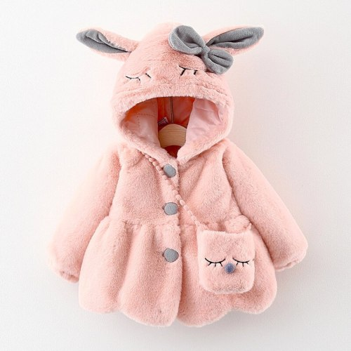 Cute Rabbit Ears Plush Baby Jacket Christmas Sweet Princess Girls Coat Warm Hooded Outerwear