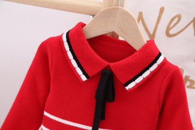 Girl long sleeve wool dress Autumn and winter children's T-shirt girl's birthday party Communion Dress