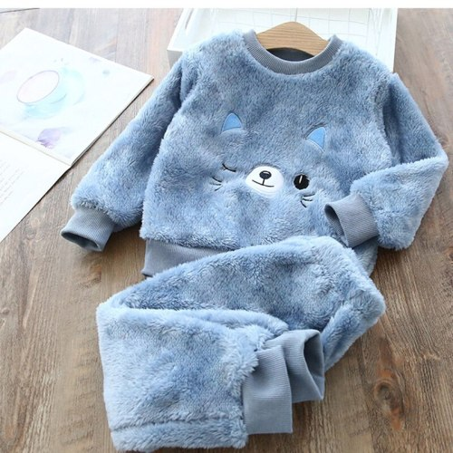 Autumn Winter Flannel Pajamas For Children Plus Velvet Thickening Warm Leisure Home Clothes