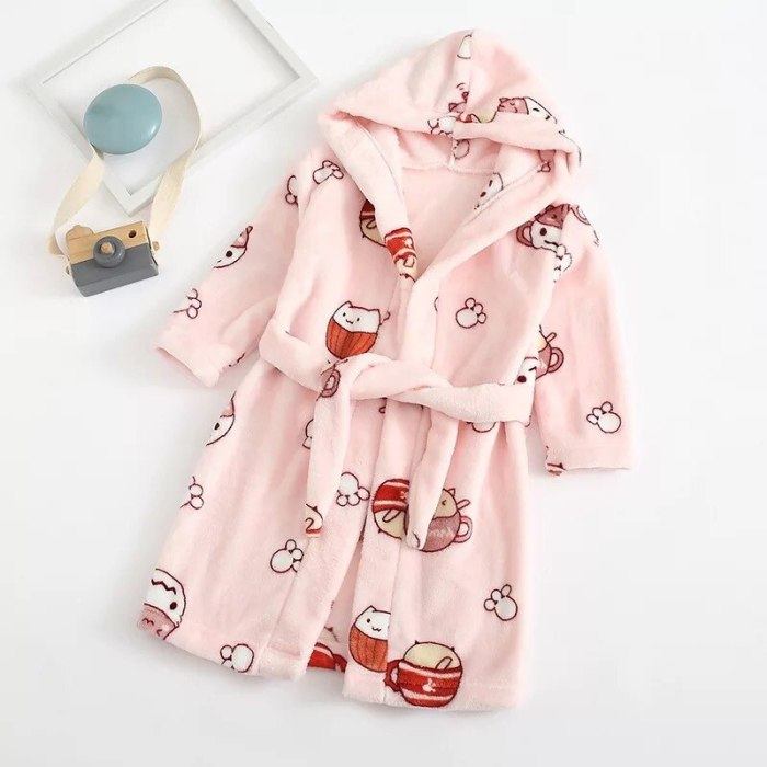 Casual Cartoons Autumn Winter Girls Nightgown Soft Bathrobe Children Comfortable Pajamas