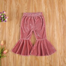 Baby Girls Velvet Bell-Bottoms Children Long Flared Trousers Retro Casual Elastic Waist Pants