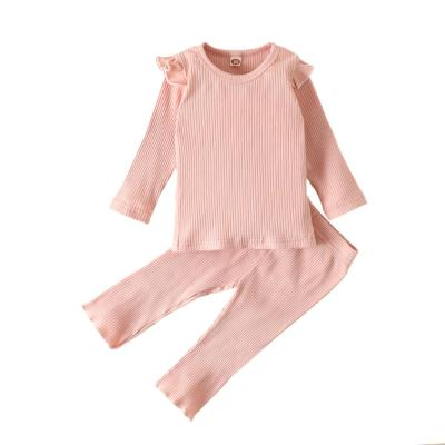 Infants Kids Baby Girls Ribbed Solid Pajama Sets Elastic Kids Sleep Clothes