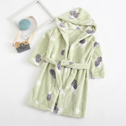 Casual Cartoons Autumn Winter Girls Nightgown Soft Bathrobe Children Comfortable Pajamas