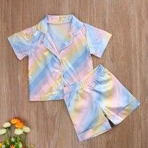 Kids Children Satin Sleepwear Baby Pajamas Sets Colorful Striped Cotton Nightwear Clothes