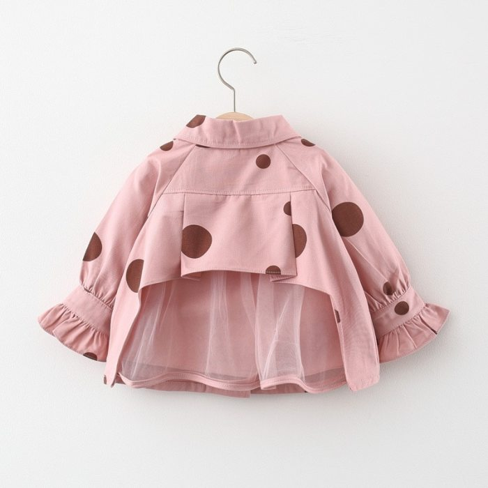 Baby Girl Clothes Jacket Dot Lace Girls Coat Fashion Children Clothes Long Sleeve Baby Outerwear