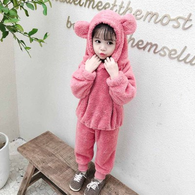 Pajamas Set Flannel Fleece Toddler Child Warm Solid Color Sleepwear Kids Home Suit