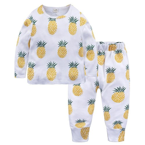 Children's Pajamas Autumn Winter Fruit Printting Home Wear Kids Clothes Cotton Warm Pajamas Set