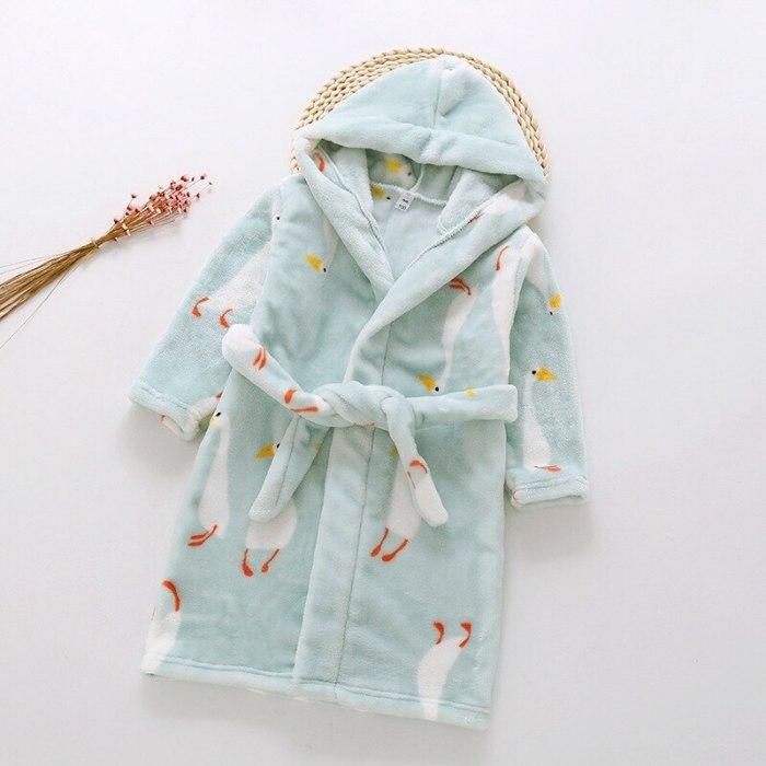 Children Home Wear Bathrobe Cute Printting Kids Winter Warm Nightgown Soft Pajamas For Girls