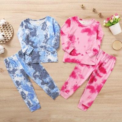 Infant Kids Baby Tie dye Clothes Set 2Pcs Homewear Pajama Sets Long Sleeve Tops Pants Outfits