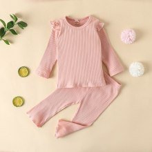 Infants Kids Baby Girls Ribbed Solid Pajama Sets Elastic Kids Sleep Clothes