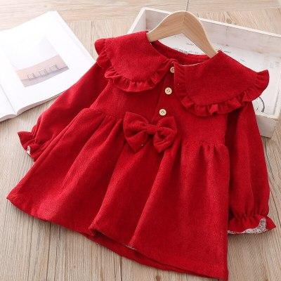 Baby's long sleeve Lapel dress Newborn 1 Year Birthday Party Dress Infant Baptism Dress