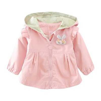 Kids Jacket For Girls Toddler Baby Girls Rabbit Ear Hooded Windproof Coat Outwear Casual Clothes