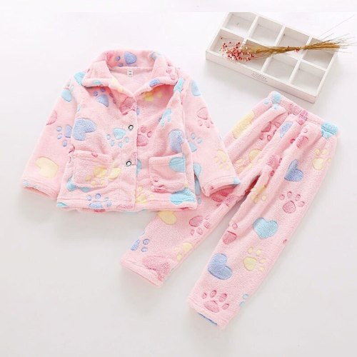 Soft Flannel Children Pajamas Cute Printing Baby Girl Clothes Set Plus Velvet Warm Suit