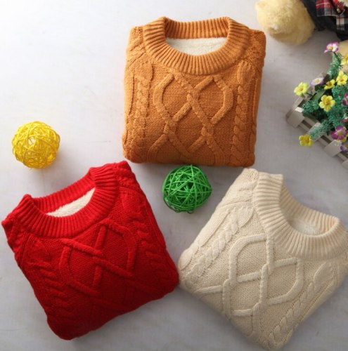 Children's clothing plus velvet thickening winter baby pullover Children's sweater