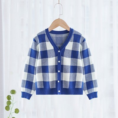 100% Cotton Children's clothing cardigan thin coat striped long sleeve round neck sweater