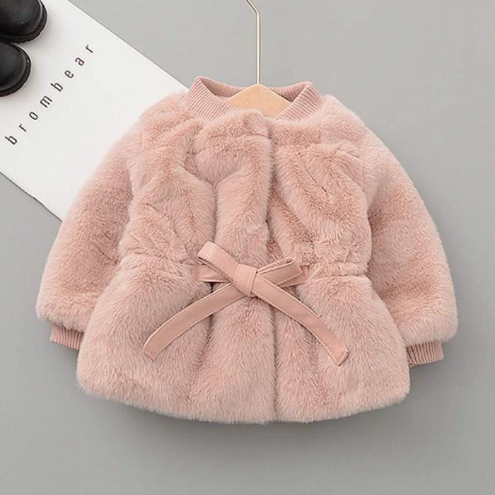 Baby Girls Winter Outerwear Fashion Velvet Warm Girls Waist Jacket Coat