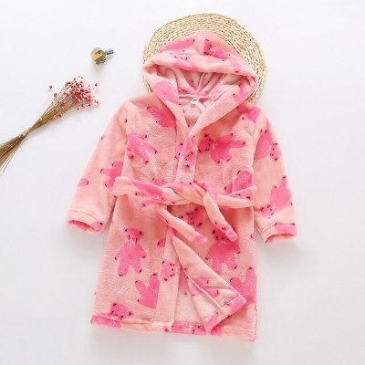 Children Home Wear Bathrobe Cute Printting Kids Winter Warm Nightgown Soft Pajamas For Girls