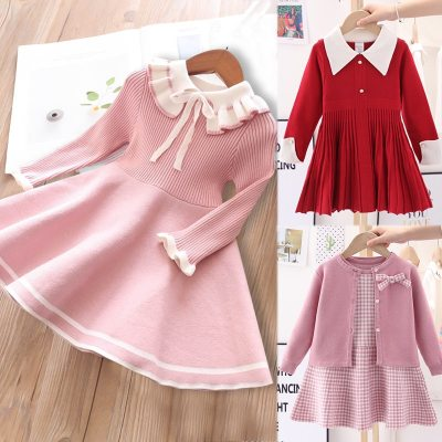Girls sweater knitted dress children warm Sweater dress infant casual pure color Pleated princess dress