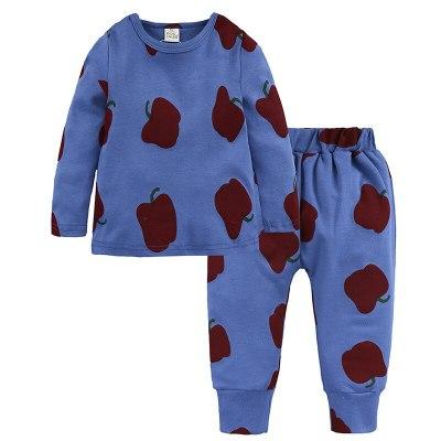 Children's Pajamas Autumn Winter Fruit Printting Home Wear Kids Clothes Cotton Warm Pajamas Set