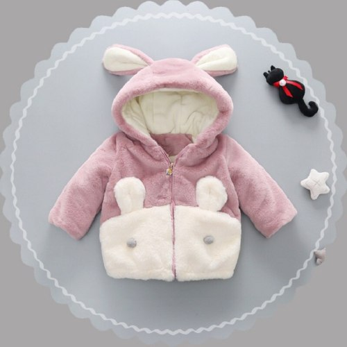 Autumn and winter baby children's rabbit fur jacket fashion girls plush coat thick cotton coat