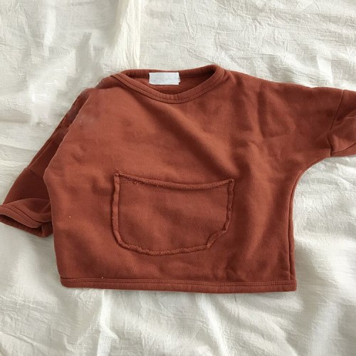 Children's clothing autumn girls' westernized Korean pocket sweater top