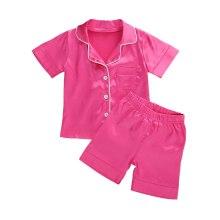 2 Pieces Nightwear Set Kids Solid Color Turn-Down Collar Top Pyjama