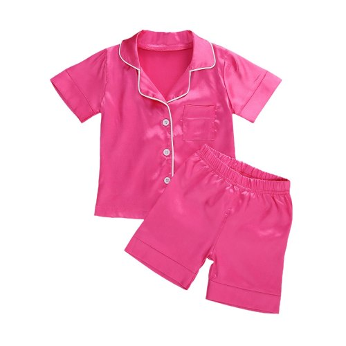 2 Pieces Nightwear Set Kids Solid Color Turn-Down Collar Top Pyjama