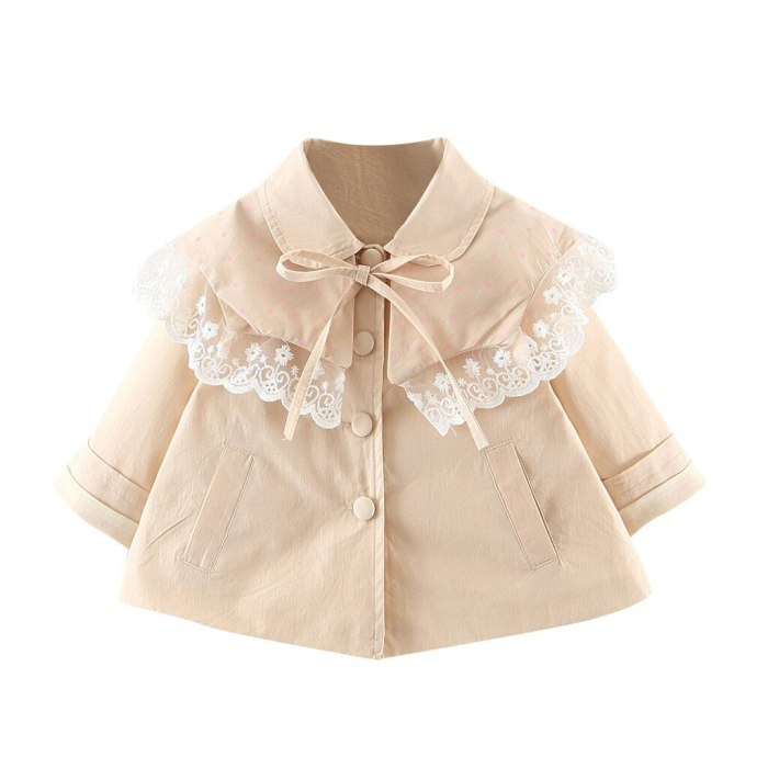 Kids Clothes Toddler Baby Children Girls Solid Lace Windproof Coat Outwear Casual Clothes Jackets