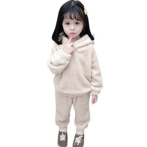 Pajamas Set Flannel Fleece Toddler Child Warm Solid Color Sleepwear Kids Home Suit