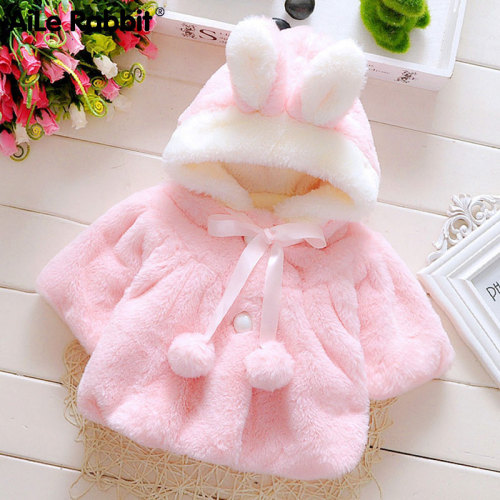 Rabbit Infant girl baby clothes fashion coat cute cartoon ear shape furry coat