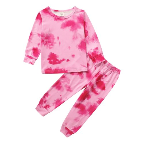 Infant Kids Baby Tie dye Clothes Set 2Pcs Homewear Pajama Sets Long Sleeve Tops Pants Outfits