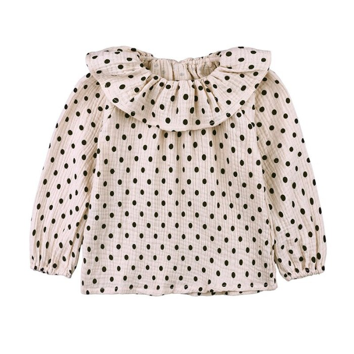 Baby Girls Spring and Autumn Point Cotton Shirt Doll Collar Literary Style Children's Thin Top