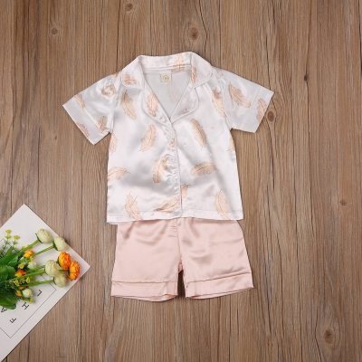 Kids Pajama Sets Baby Silk Pajamas Sleepwear Outfit Solid Nightwear Set
