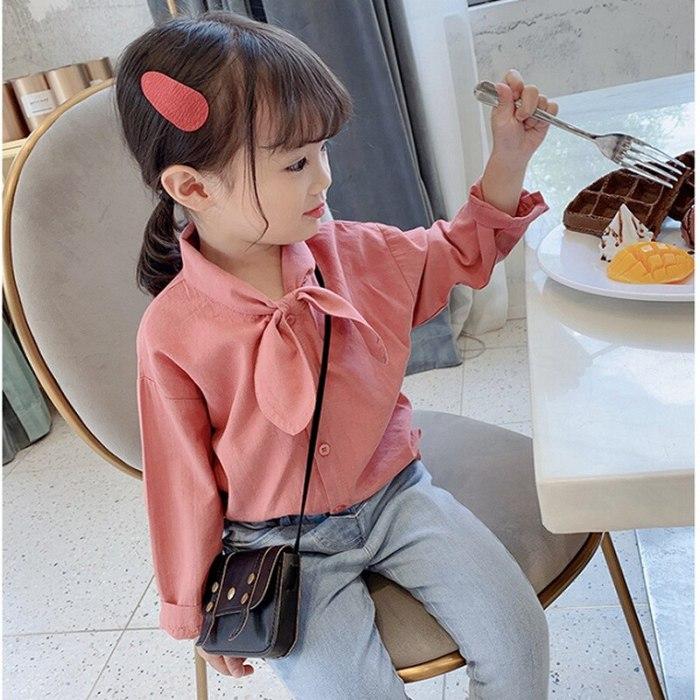 Girls Shirt Neckerchief Versatile Shirt Tops Childrenswear girl blouse
